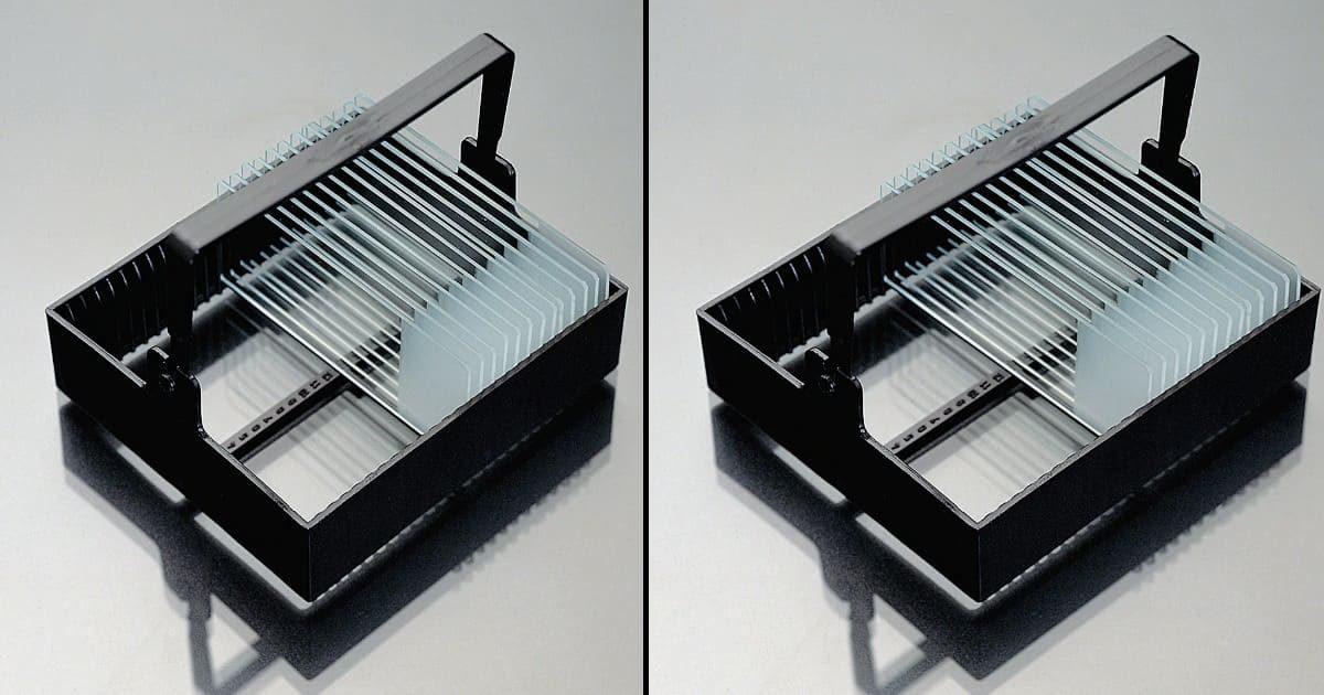 Кошница от полиоксиметилен за 25 бр предметни стъкла, 91х79х38 мм